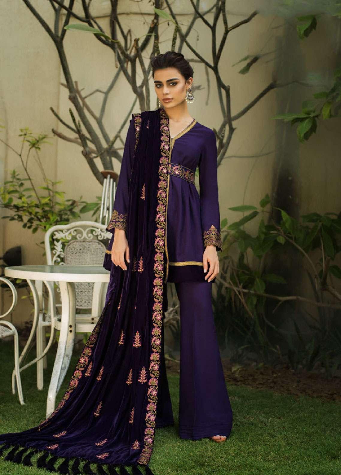 Asim Jofa Handwork Embroidered Velvet Unstitched 3 Piece Suit AJ18V 05 - Luxury Winter Collection