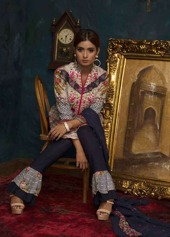 Ayesha Chottani Embroidered Lawn Unstitched 3 Piece Suit AYC18L ST-1B - Spring / Summer Collection