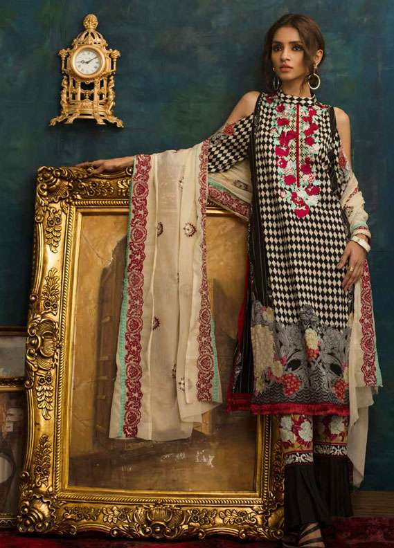 Ayesha Chottani Embroidered Lawn Unstitched 3 Piece Suit AYC18L ST-2A - Spring / Summer Collection