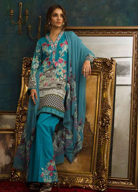 Ayesha Chottani Embroidered Lawn Unstitched 3 Piece Suit AYC18L ST-3A - Spring / Summer Collection