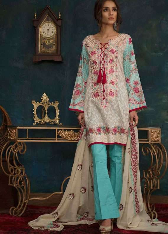 Ayesha Chottani Embroidered Lawn Unstitched 3 Piece Suit AYC18L ST-5A - Spring / Summer Collection