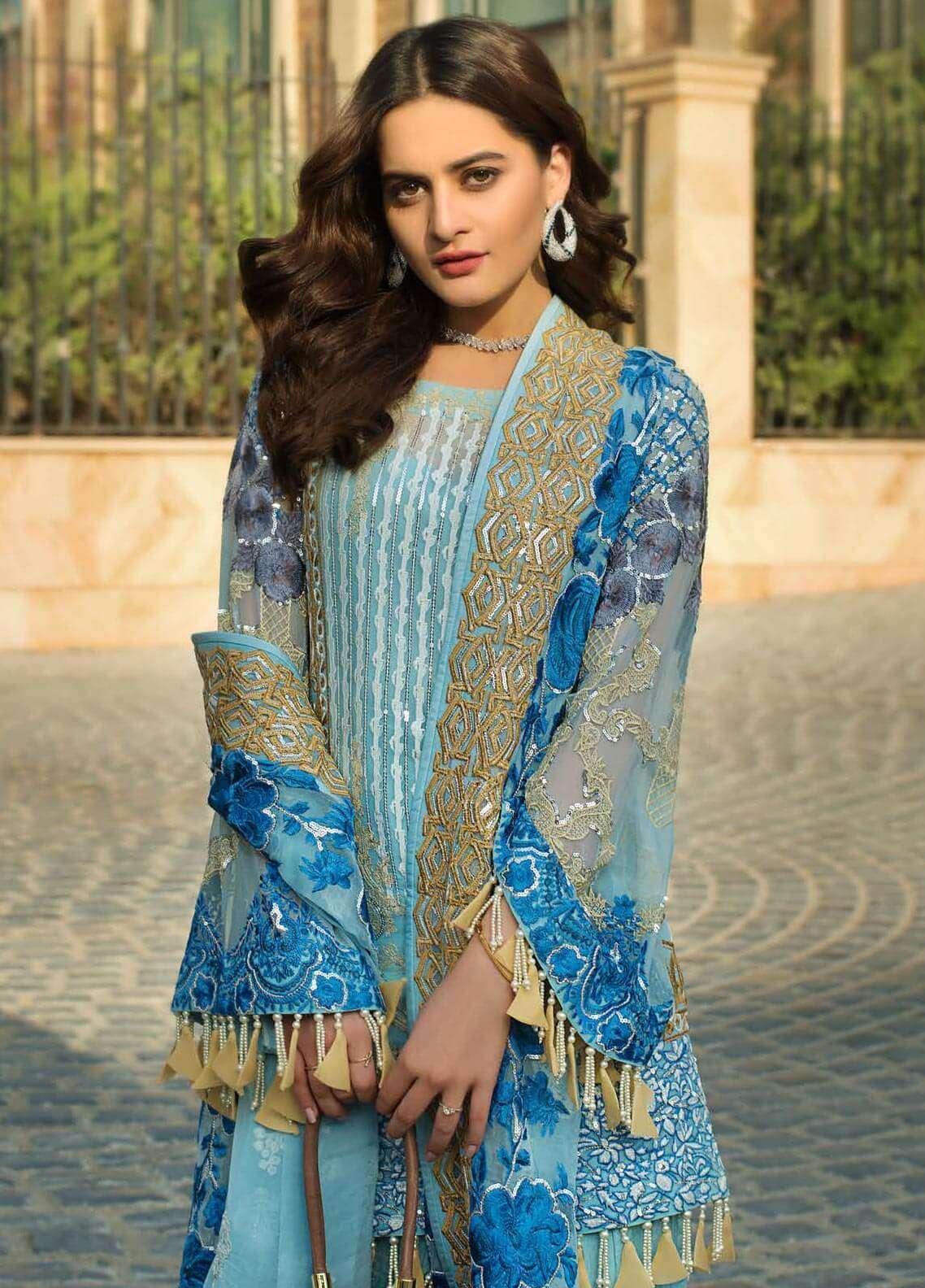 Ayesha Ibrahim by ZS Embroidered Chiffon Unstitched 3 Piece Suit AYI18C Deniz - Luxury Collection