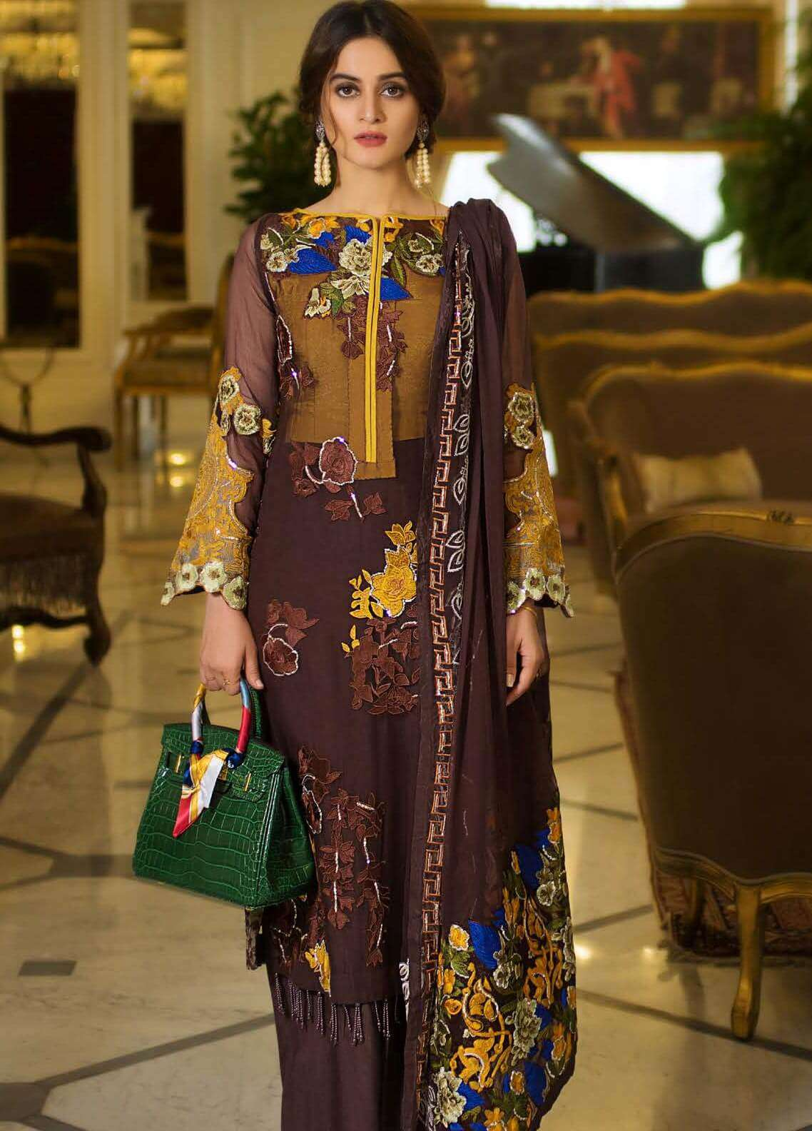 Ayesha Ibrahim by ZS Embroidered Chiffon Unstitched 3 Piece Suit AYI18C Ela - Luxury Collection