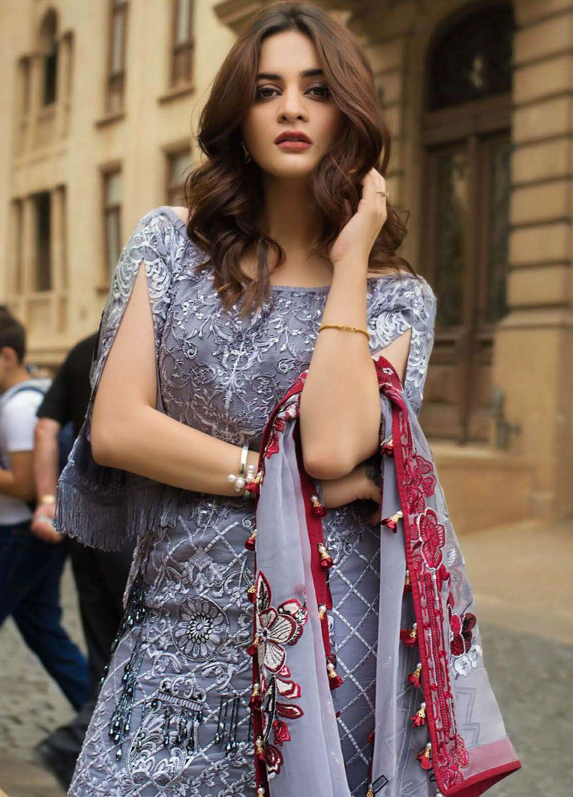 Ayesha Ibrahim by ZS Embroidered Chiffon Unstitched 3 Piece Suit AYI18C Murat - Luxury Collection