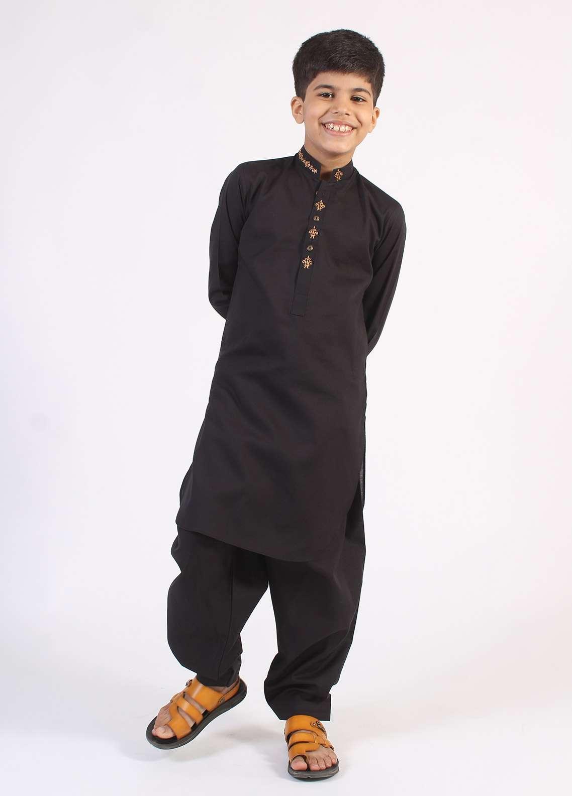Aizaz Zafar Cotton Embroidered Kameez Shalwar for Boys - Black AZ18B 200