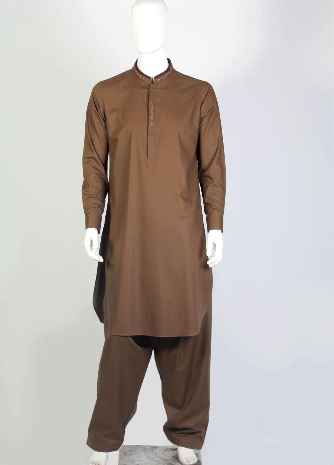 Aizaz Zafar Cotton Embroidered Suits for Mens - Brown AZ18M 001
