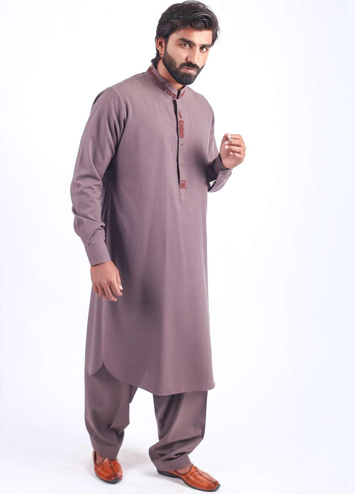 Aizaz Zafar Wash N Wear Embroidered Shalwar Kameez for Men - Mouve AZ18M 015