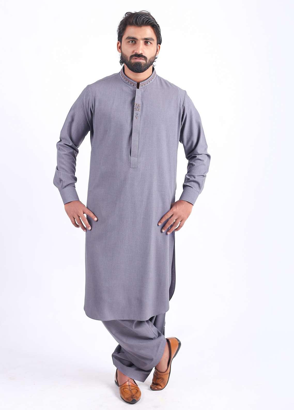 Aizaz Zafar Wash N Wear Embroidered Men Shalwar Kameez - Grey AZ18M 016
