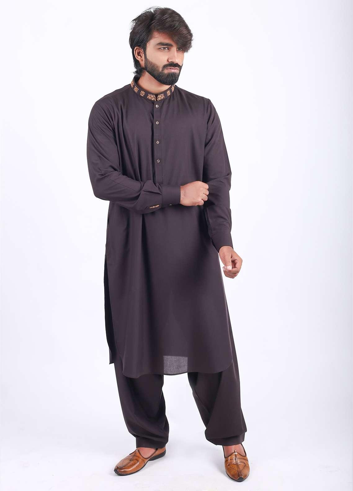 Aizaz Zafar Wash N Wear Embroidered Men Shalwar Kameez - Brown AZ18M 020