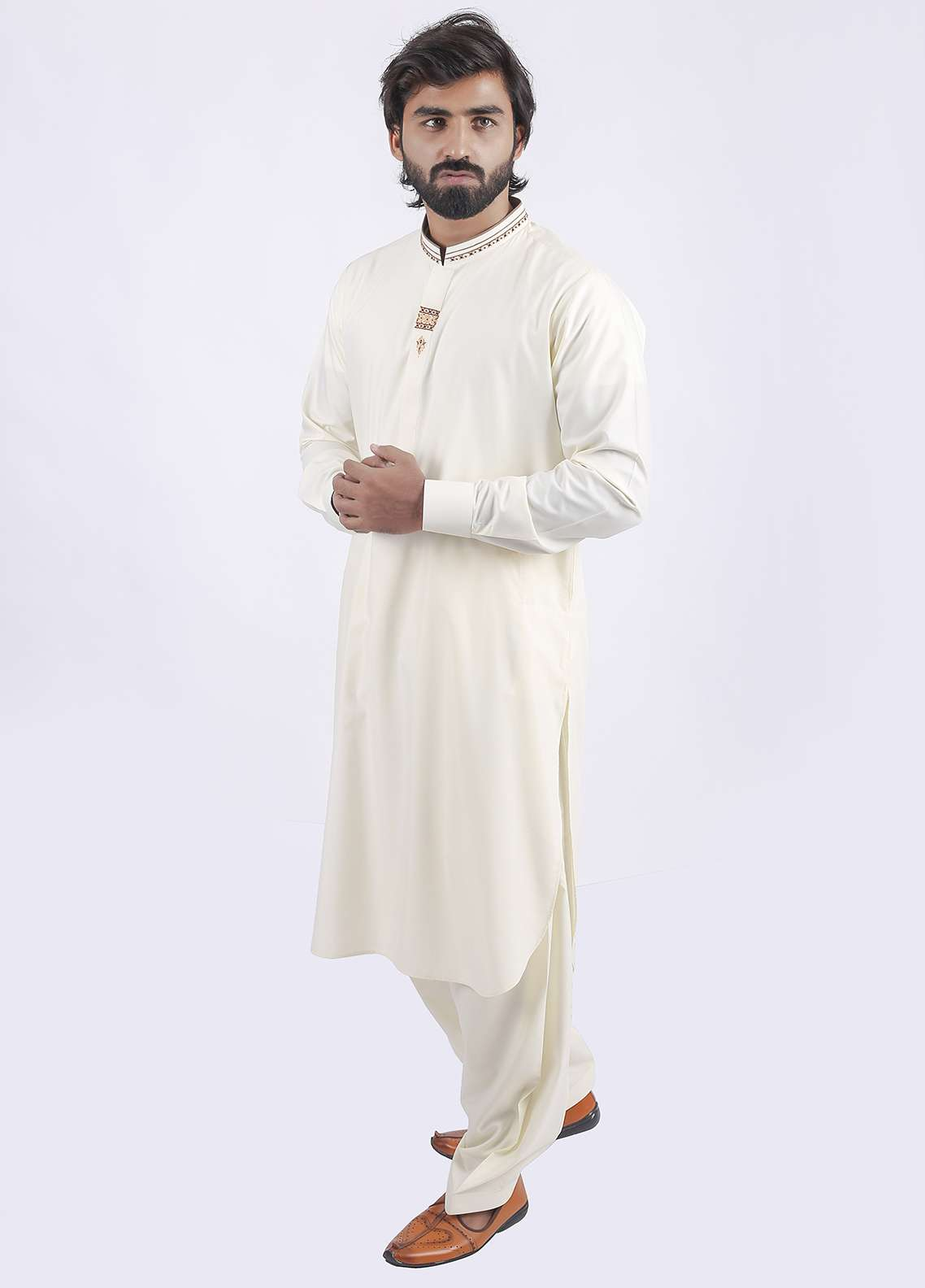 Aizaz Zafar Wash N Wear Embroidered Shalwar Kameez for Men - Cream AZ18M 021