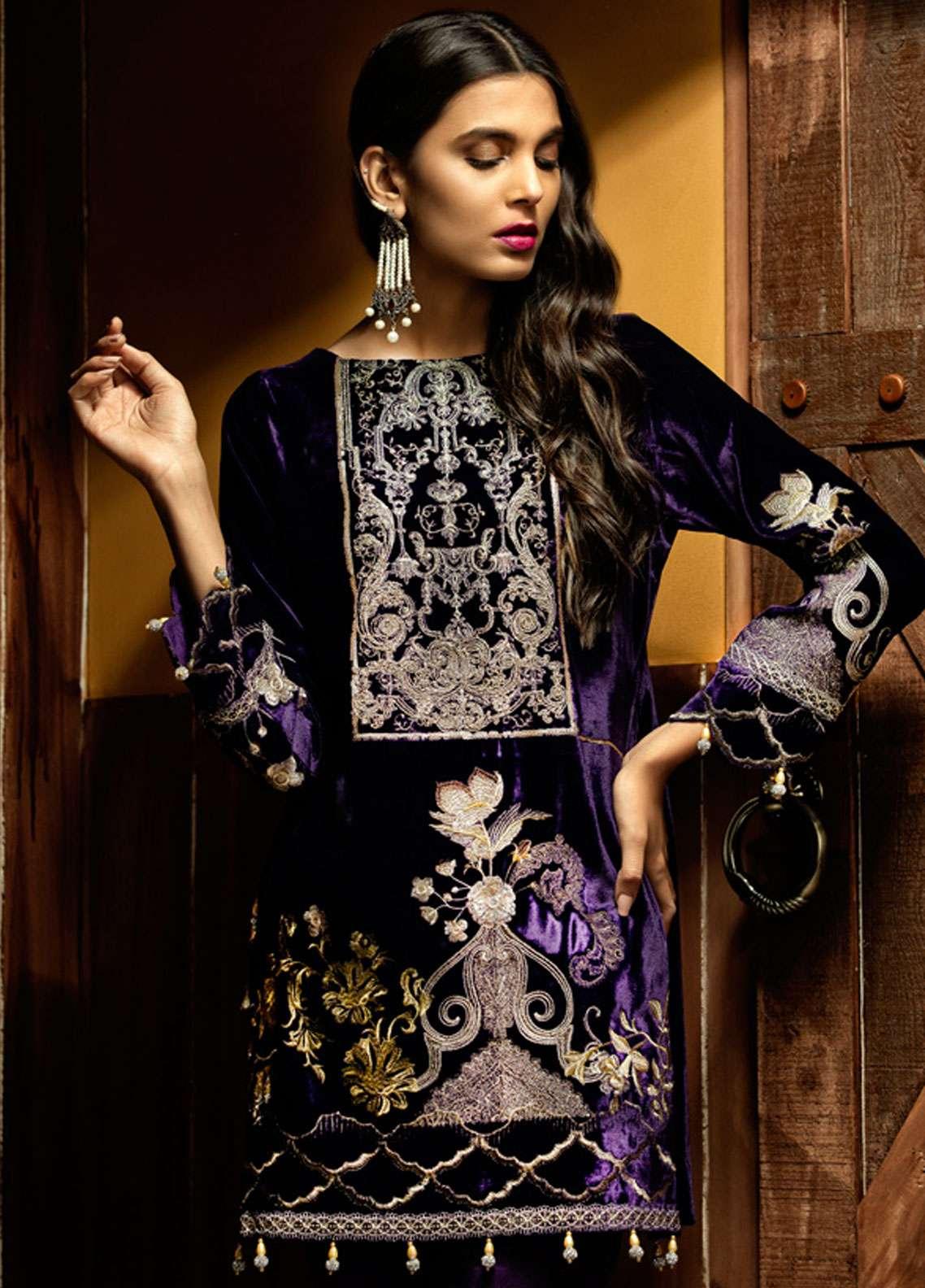 Azalea Embroidered Velvet Unstitched Kurti AZA18SW 07 - Festive Collection