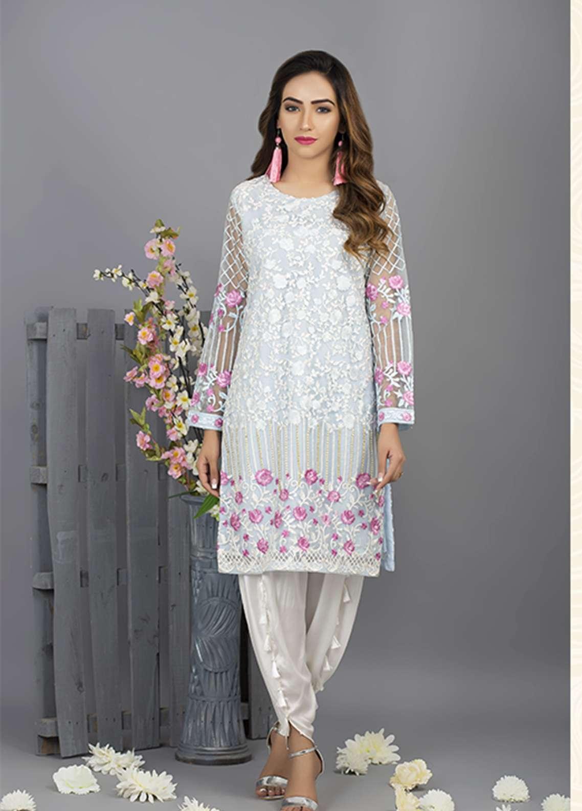 Azure Embroidered Cotton Net Stitched 2 Piece Suit AZU18C 05