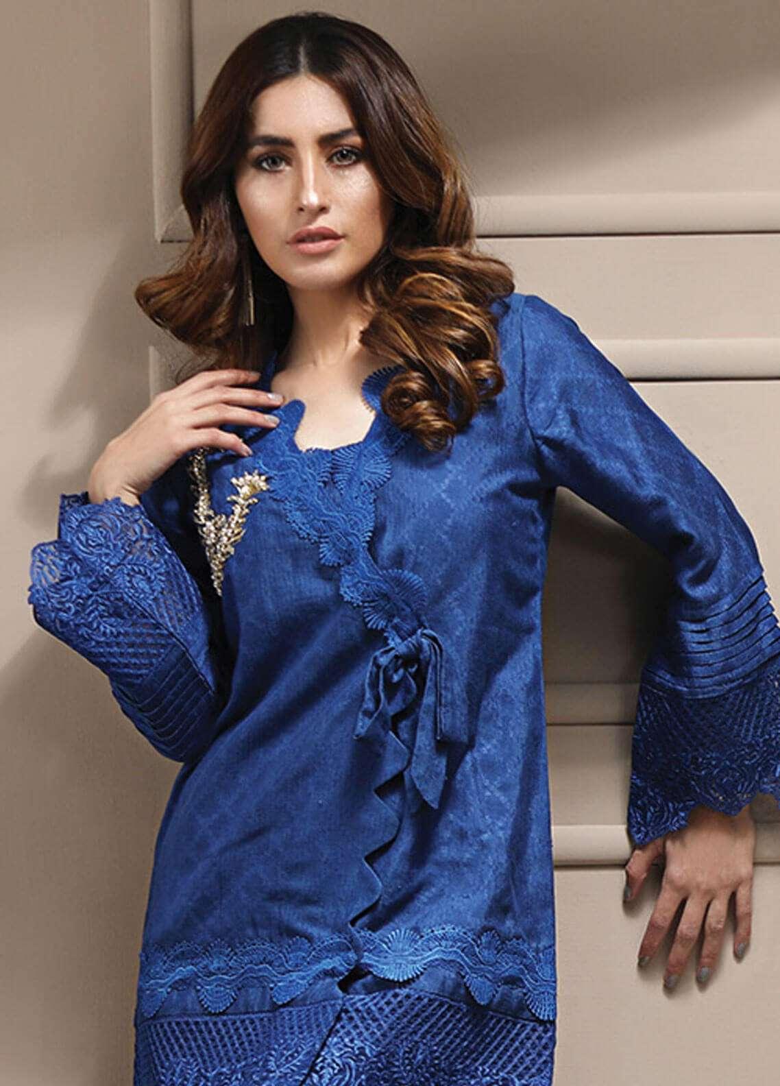 Azure Embroidered Cotton Net Stitched 2 Piece Suit AZU19CN 03 ELECTRIC BLUE