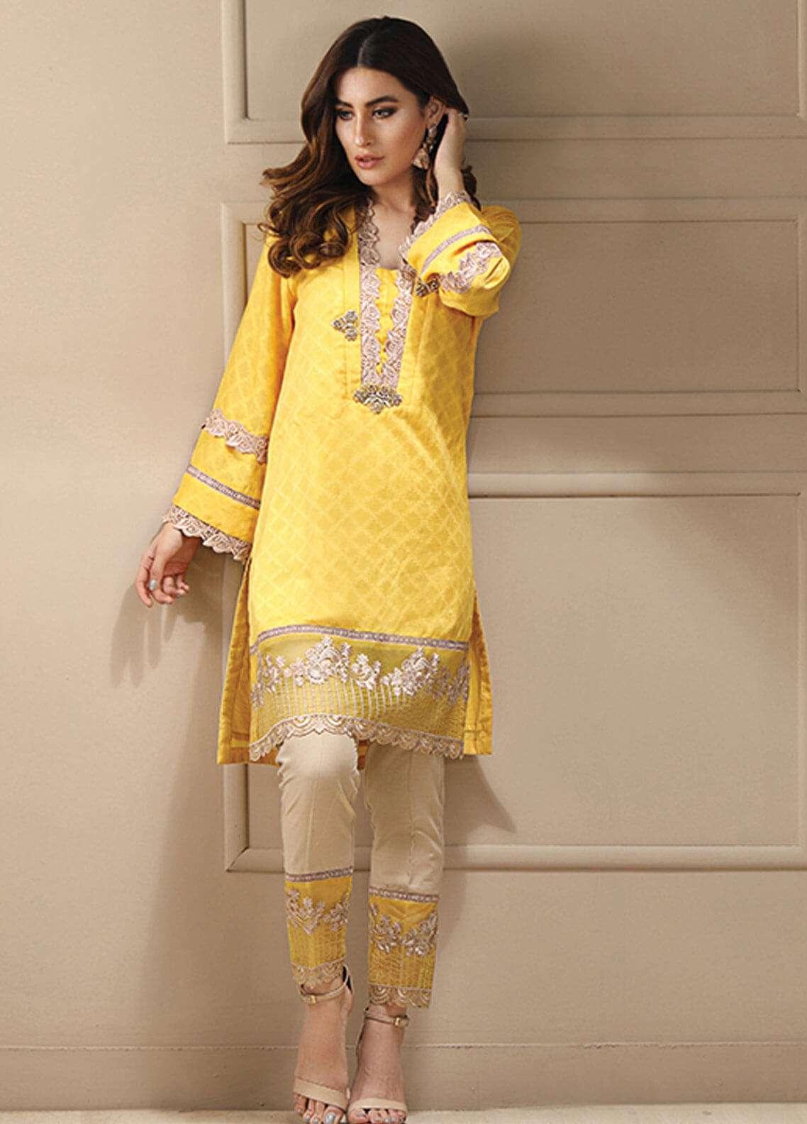 Azure Embroidered Cotton Net Stitched 2 Piece Suit AZU19CN 08 MANGO YELLOW