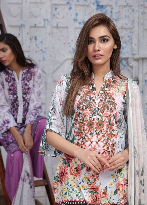 Bashir Ahmed Embroidered Lawn Unstitched 3 Piece Suit BA17E 1B