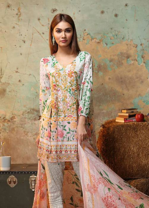 Bashir Ahmed Embroidered Lawn Unstitched 3 Piece Suit BA17E 3B
