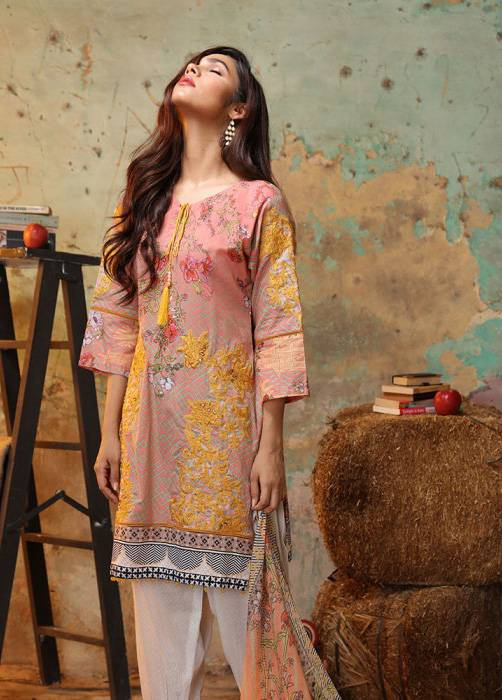 Bashir Ahmed Embroidered Lawn Unstitched 3 Piece Suit BA17E 7A