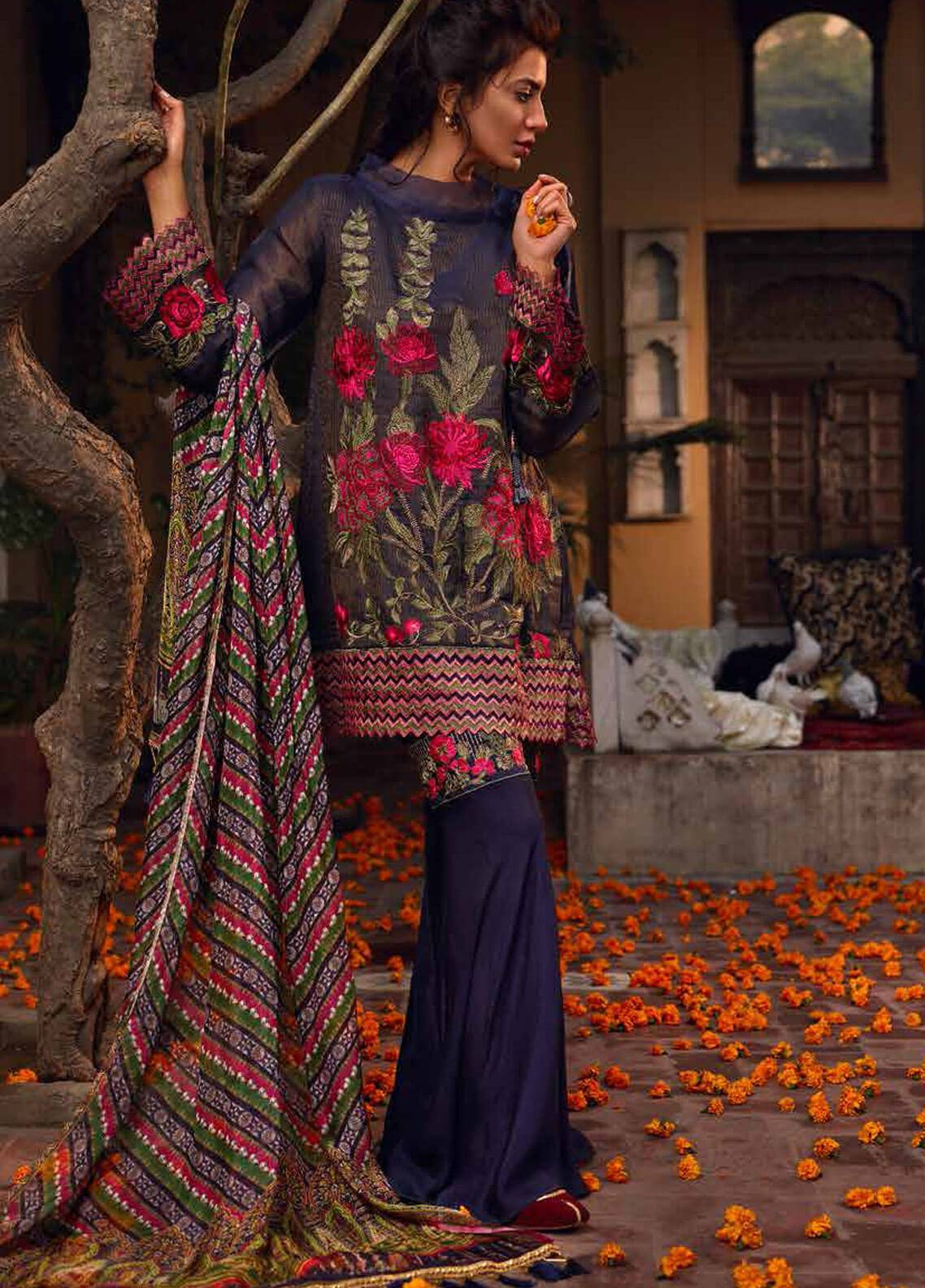 Banaras By Noor Textiles Embroidered Zari Net Unstitched 3 Piece Suit B07 - Spring / Summer Collection