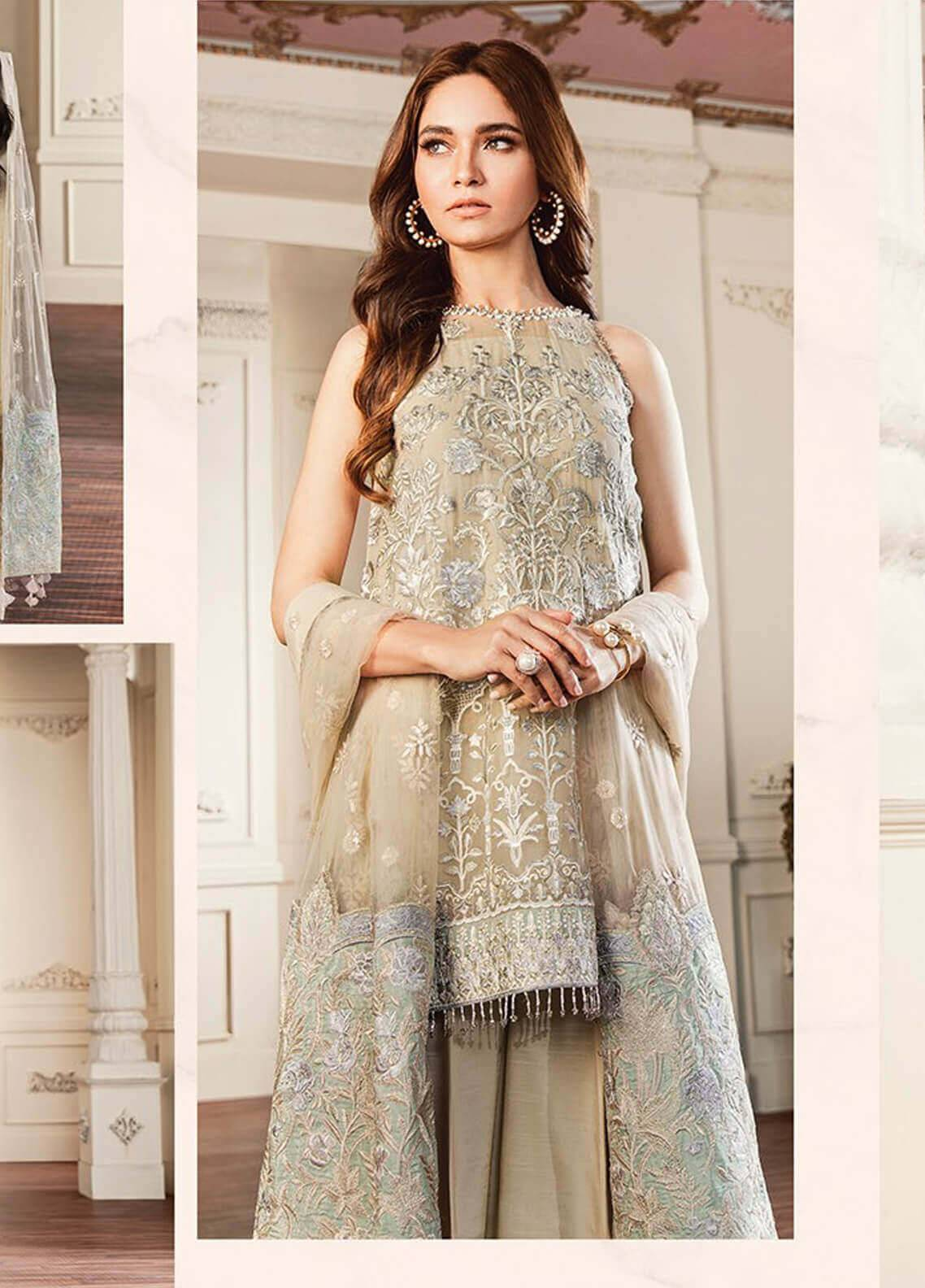 Baroque Embroidered Chiffon Unstitched 3 Piece Suit BQC-04 Crystal Dust - Luxury Collection