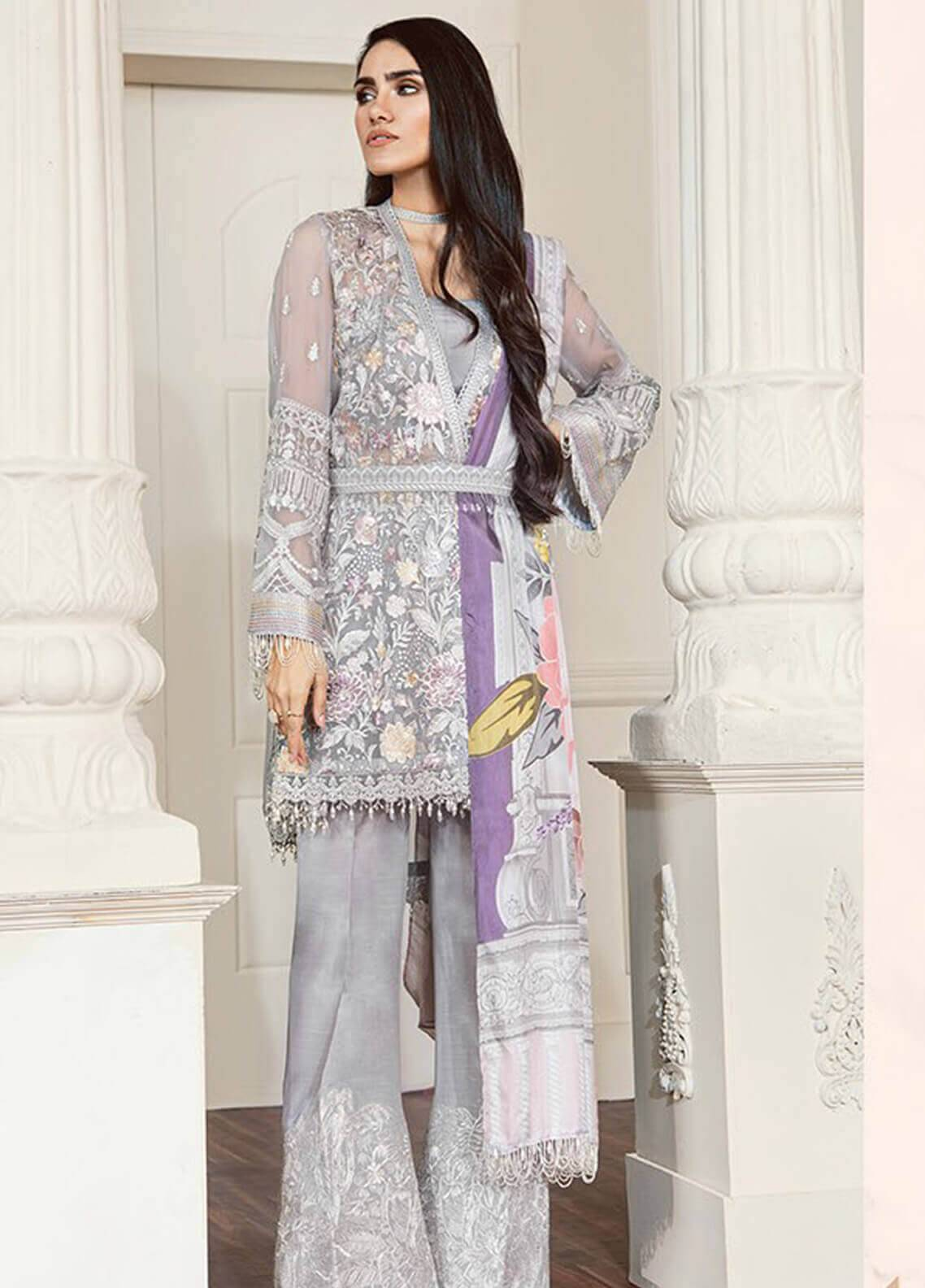 Baroque Embroidered Chiffon Unstitched 3 Piece Suit BQC-07 Fiona - Luxury Collection