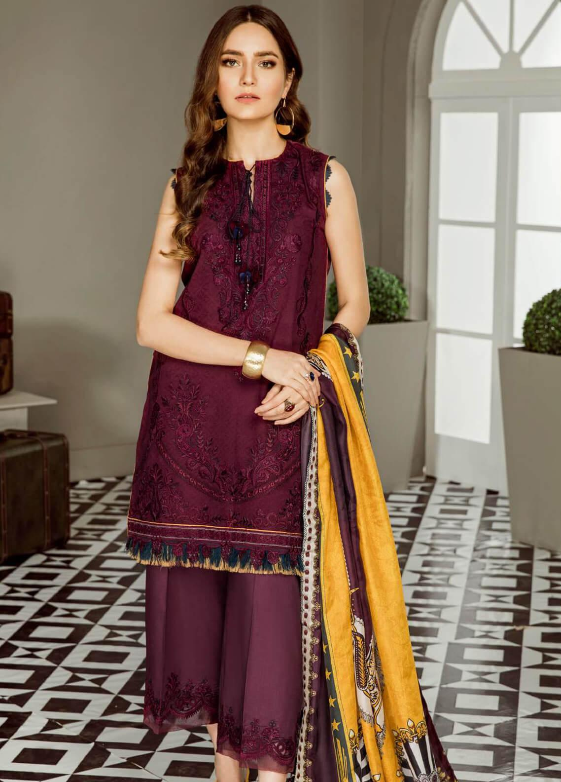 Baroque Embroidered Lawn Unstitched 3 Piece Suit BQ19E 01 AMOUR - Eid Collection