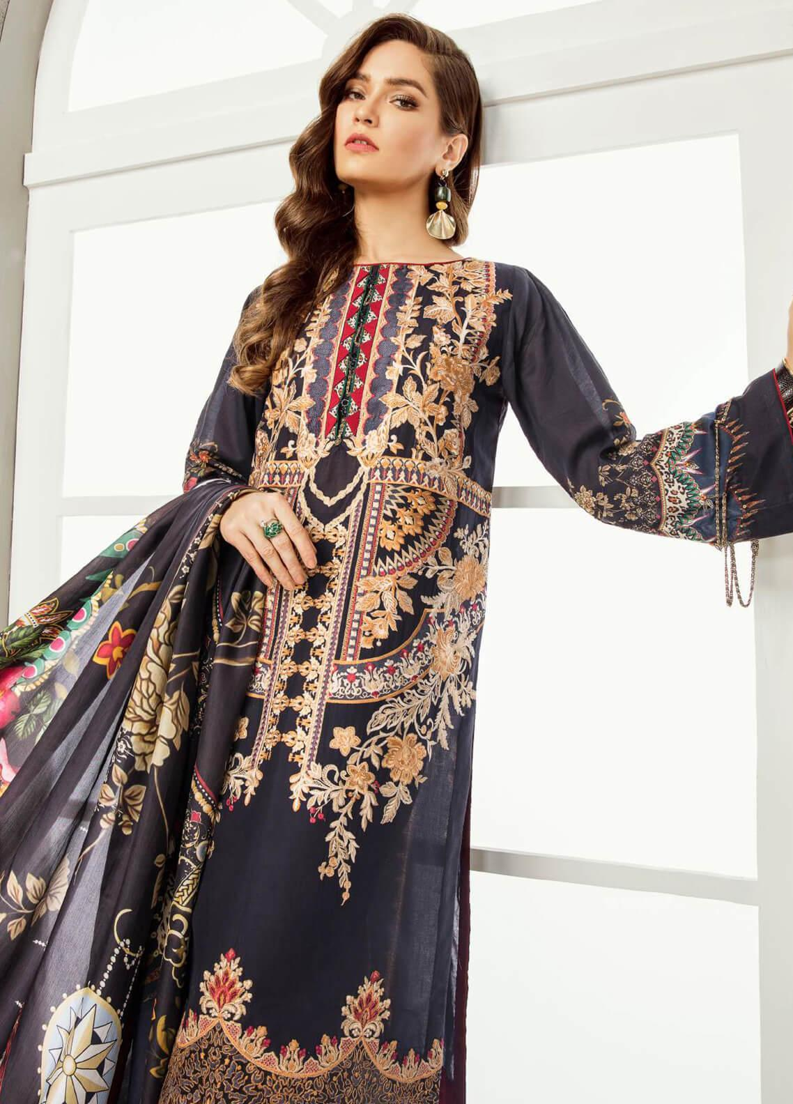 Baroque Embroidered Lawn Unstitched 3 Piece Suit BQ19E 03 MAHGUL - Eid Collection