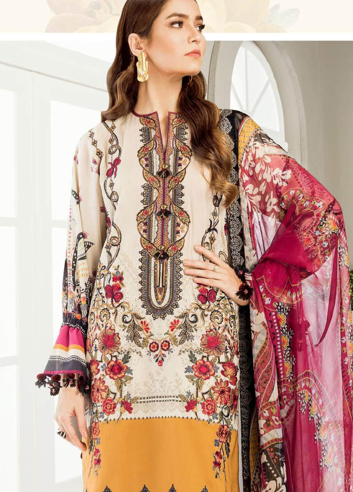 Baroque Embroidered Lawn Unstitched 3 Piece Suit BQ19E 04 GYPSY - Eid Collection