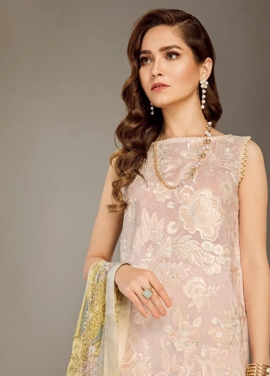 Baroque Embroidered Lawn Unstitched 3 Piece Suit BQ19E 05 EVE - Eid Collection