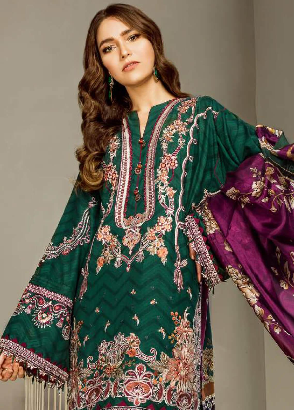 Baroque Embroidered Lawn Unstitched 3 Piece Suit BQ19E 06 DIANA - Eid Collection