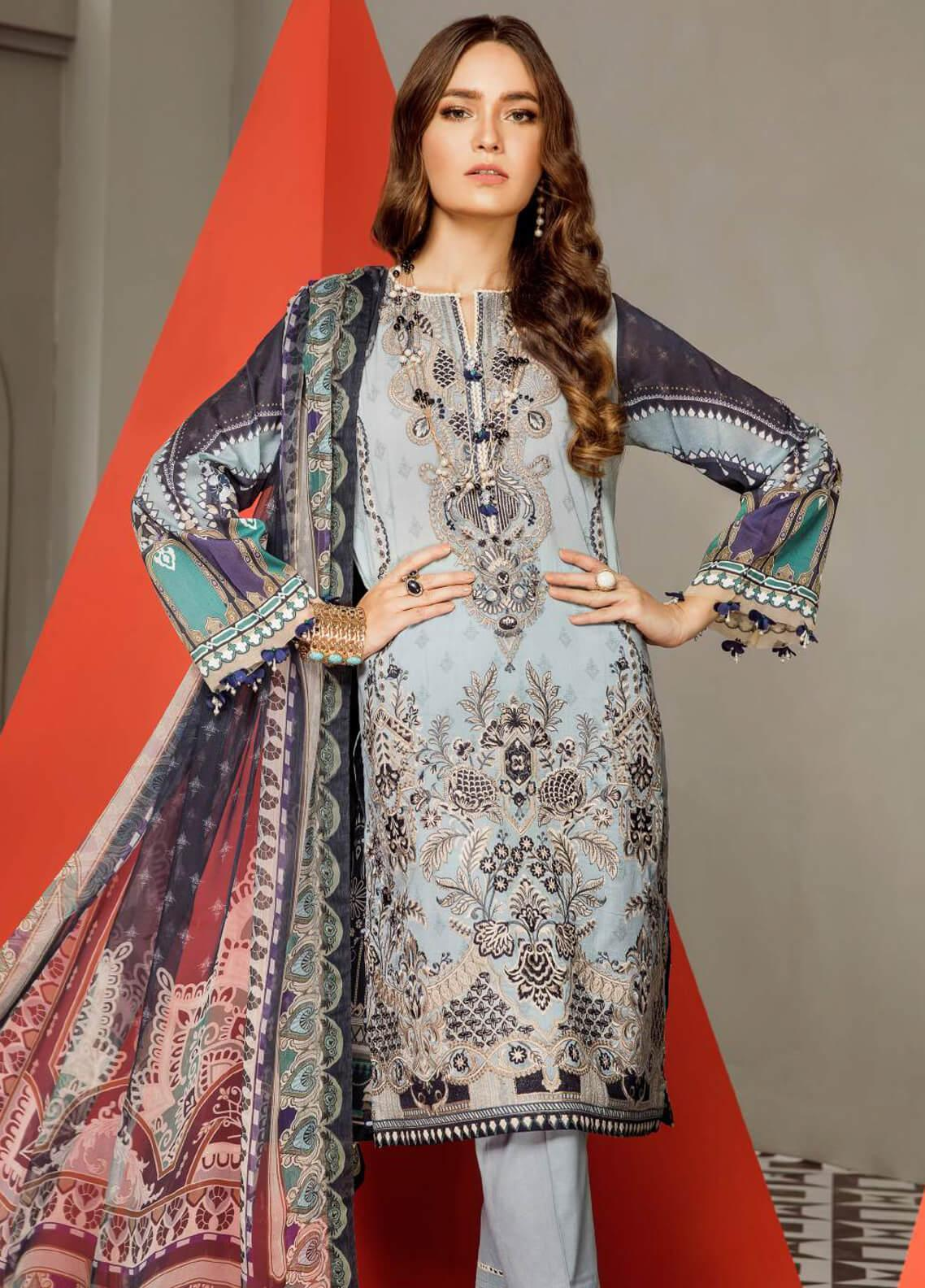 Baroque Embroidered Lawn Unstitched 3 Piece Suit BQ19E 09 AZORA - Eid Collection