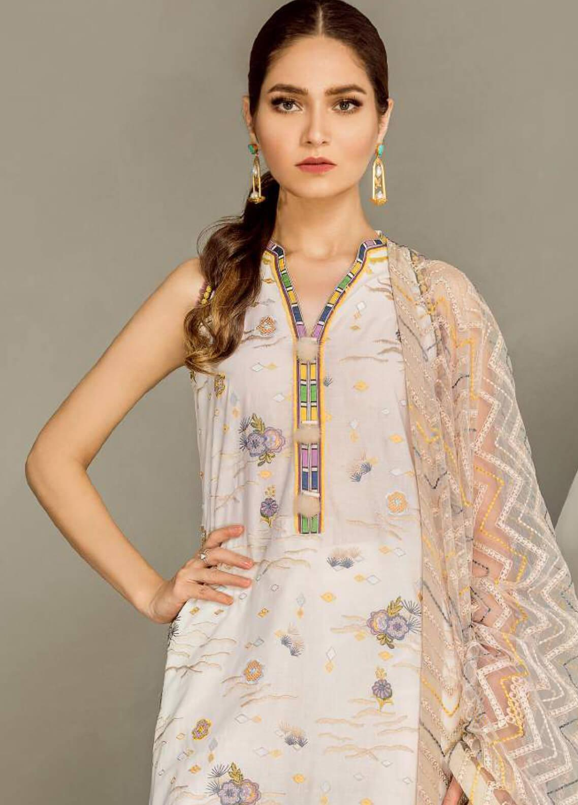 Baroque Embroidered Lawn Unstitched 3 Piece Suit BQ19E 10 MADONNA LILY - Eid Collection