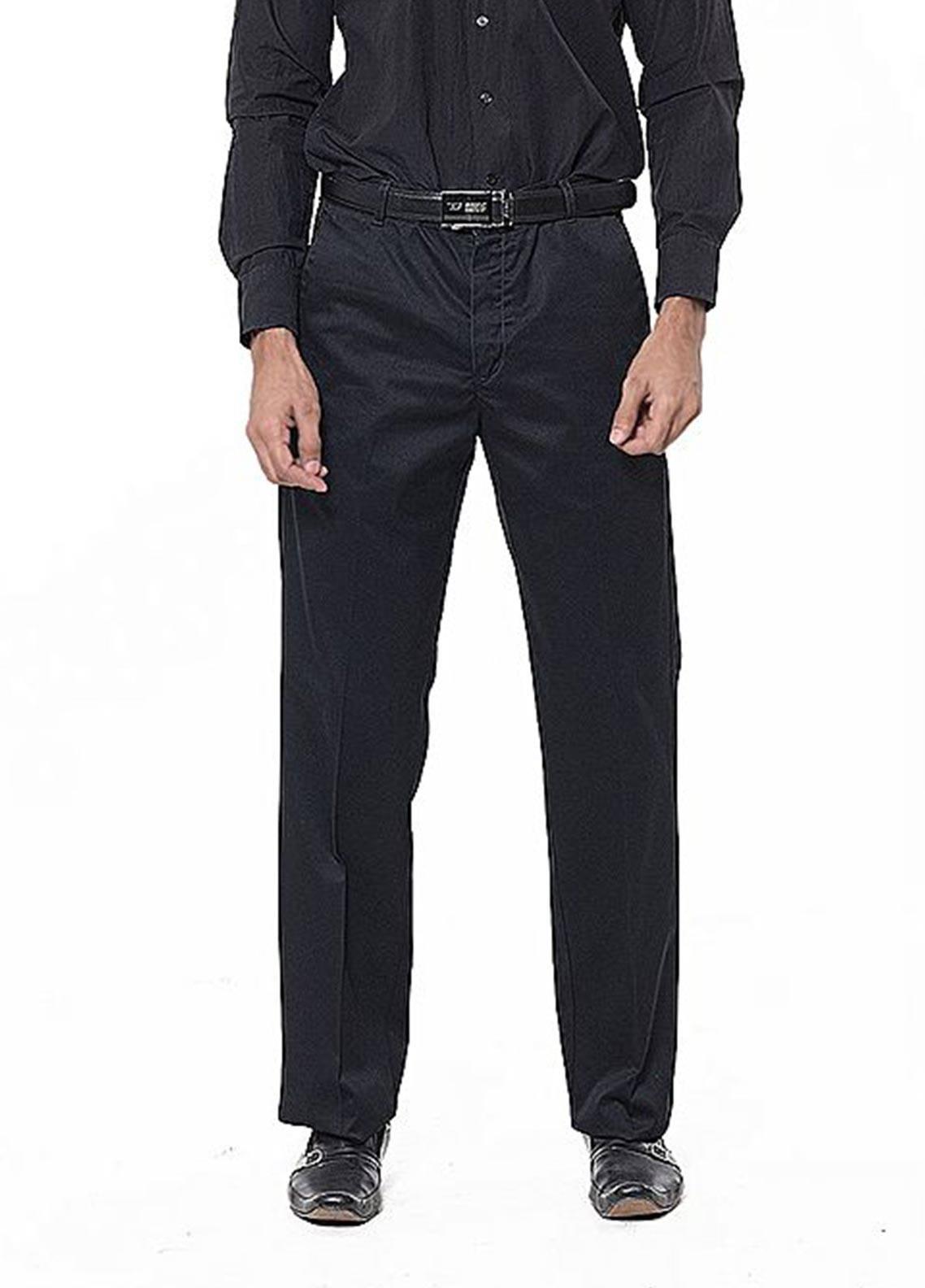 Bien Habille Cotton Ironeezee Men Trouser -   Comfort Fit Space Black