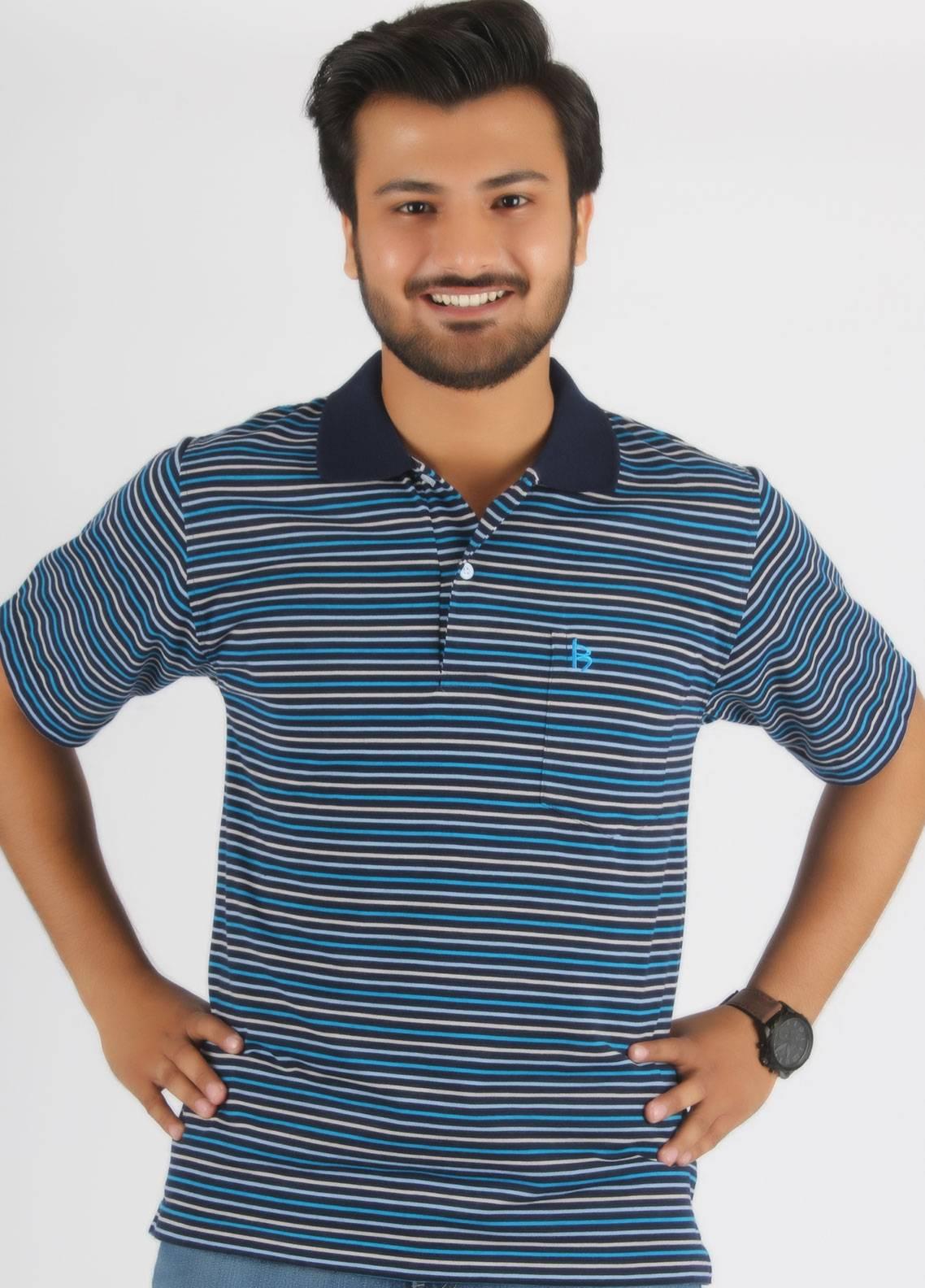 Bien Habille Cotton Polo T-Shirt for Men -  Blue & Fone