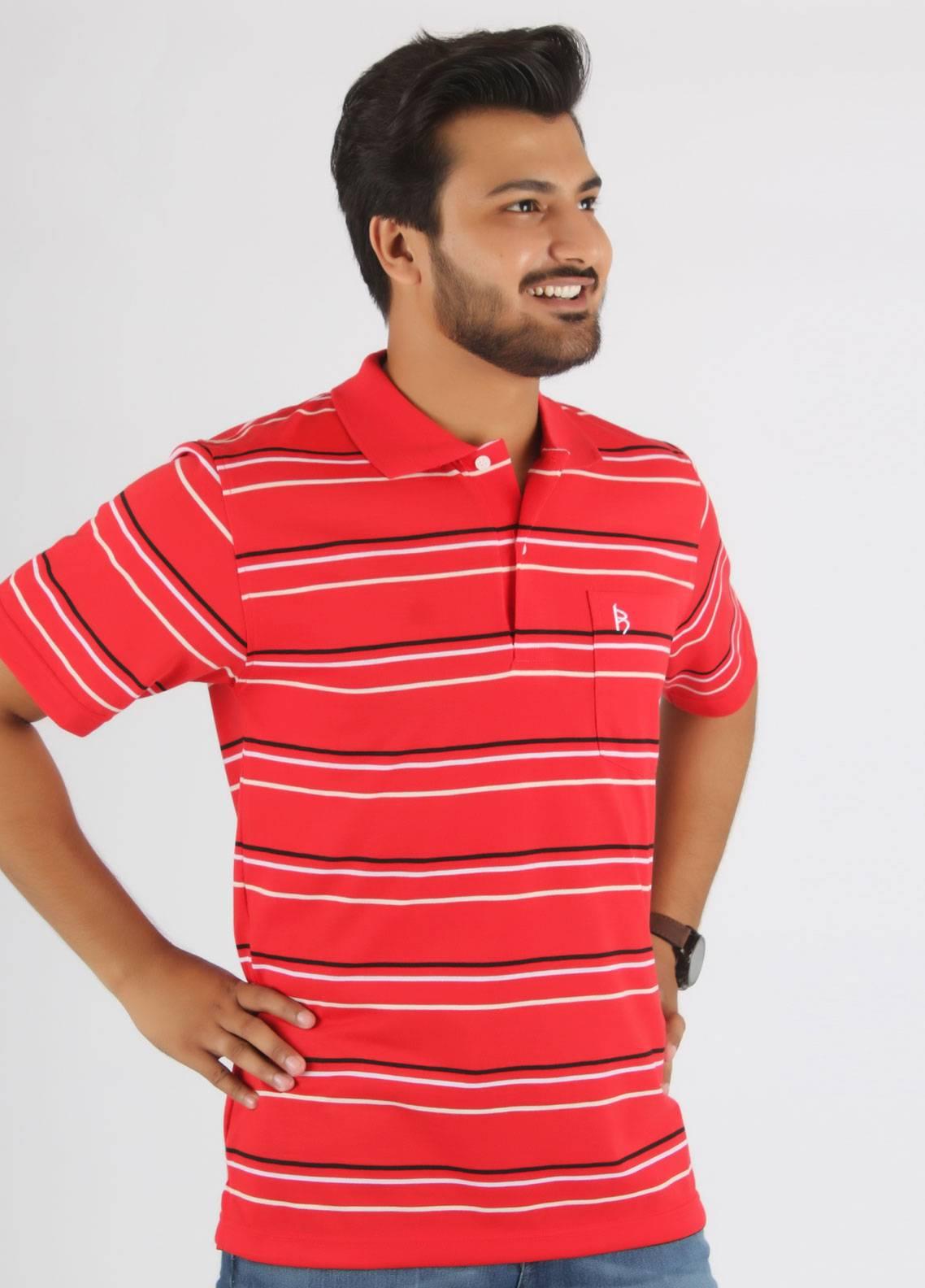 Bien Habille Cotton Polo Men T-Shirt -  Red White & Black