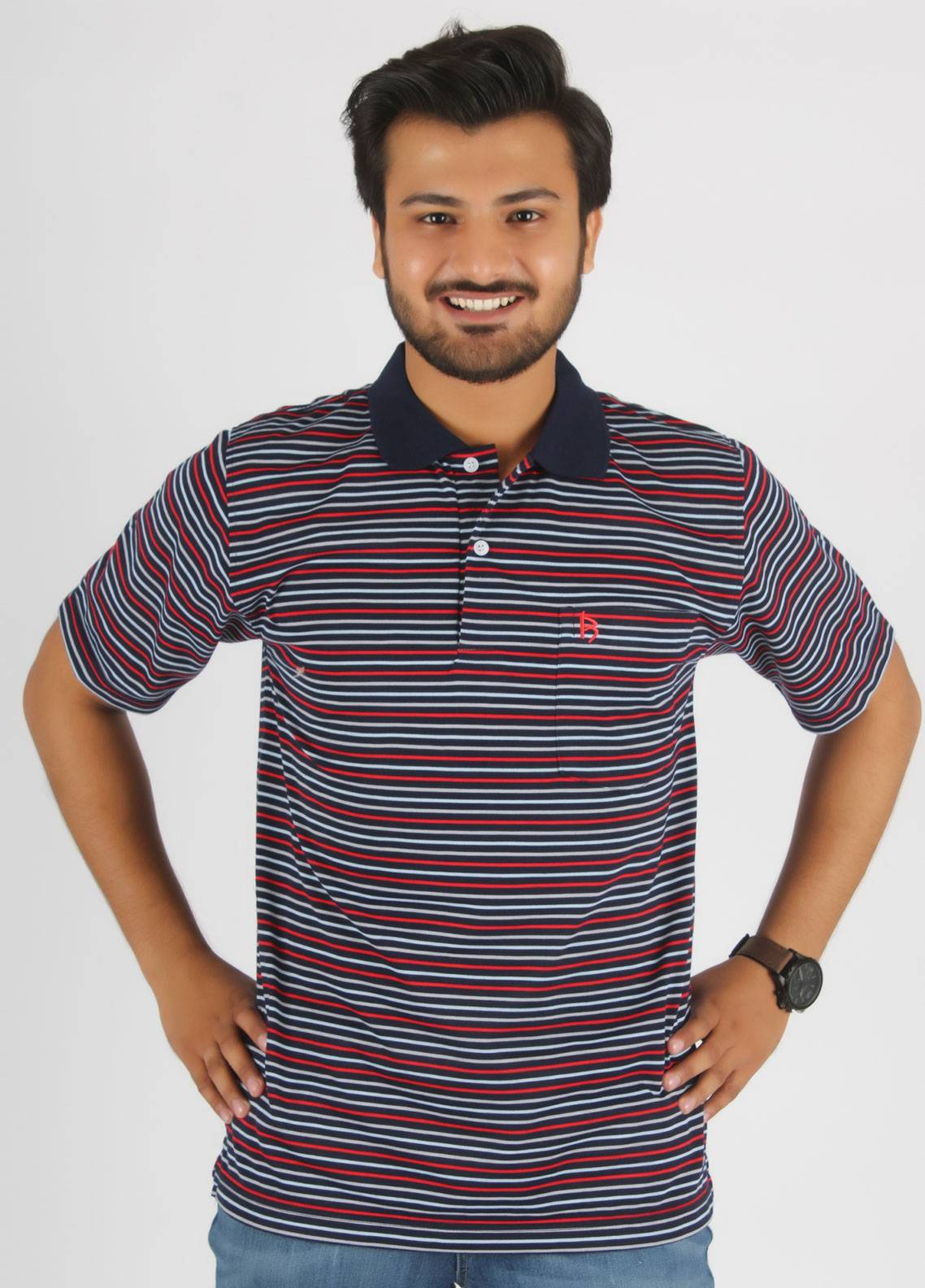 Bien Habille Cotton Polo T-Shirt for Men -  Blue Red & Grey