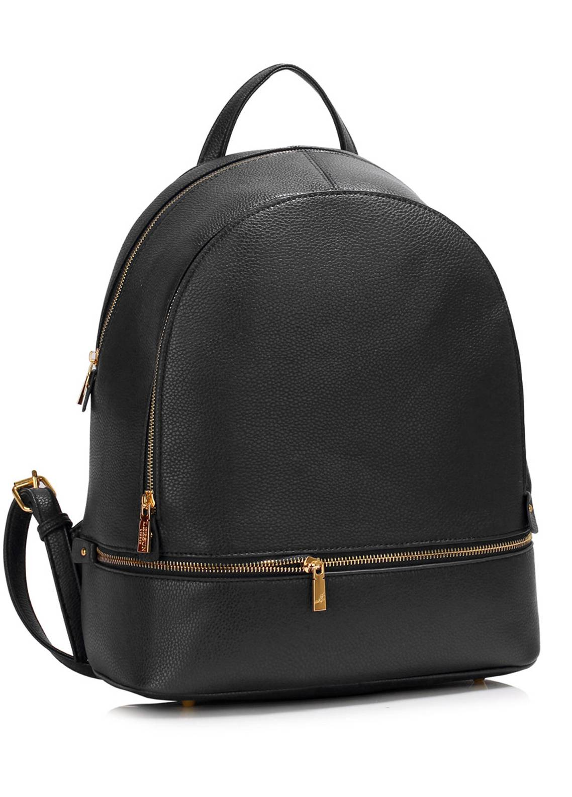 Leesun London  Faux Leather Backpack School Bags  for Unisex  Black with Plain Texture