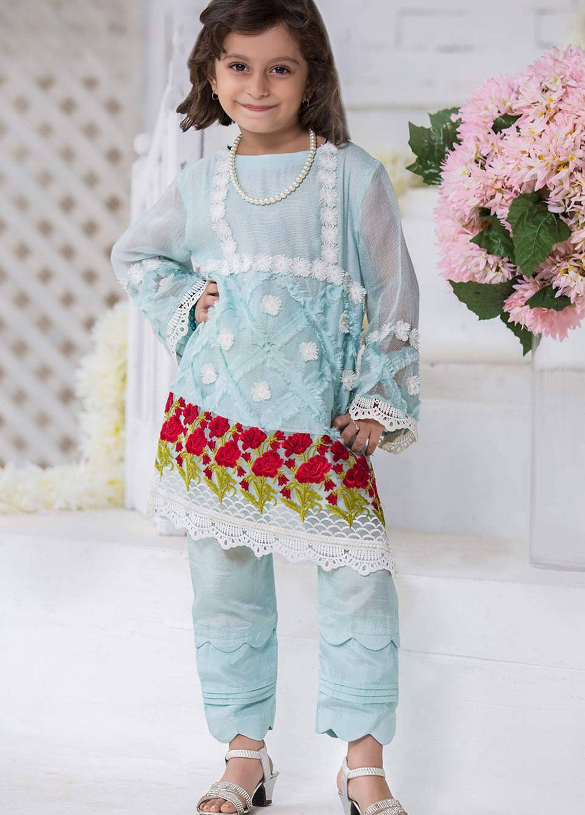 4b08f03fe9 Chic Ophicial Cotton Net Embroidered 2 Piece for Girls - Blue BLUE BREEZE  KIDS