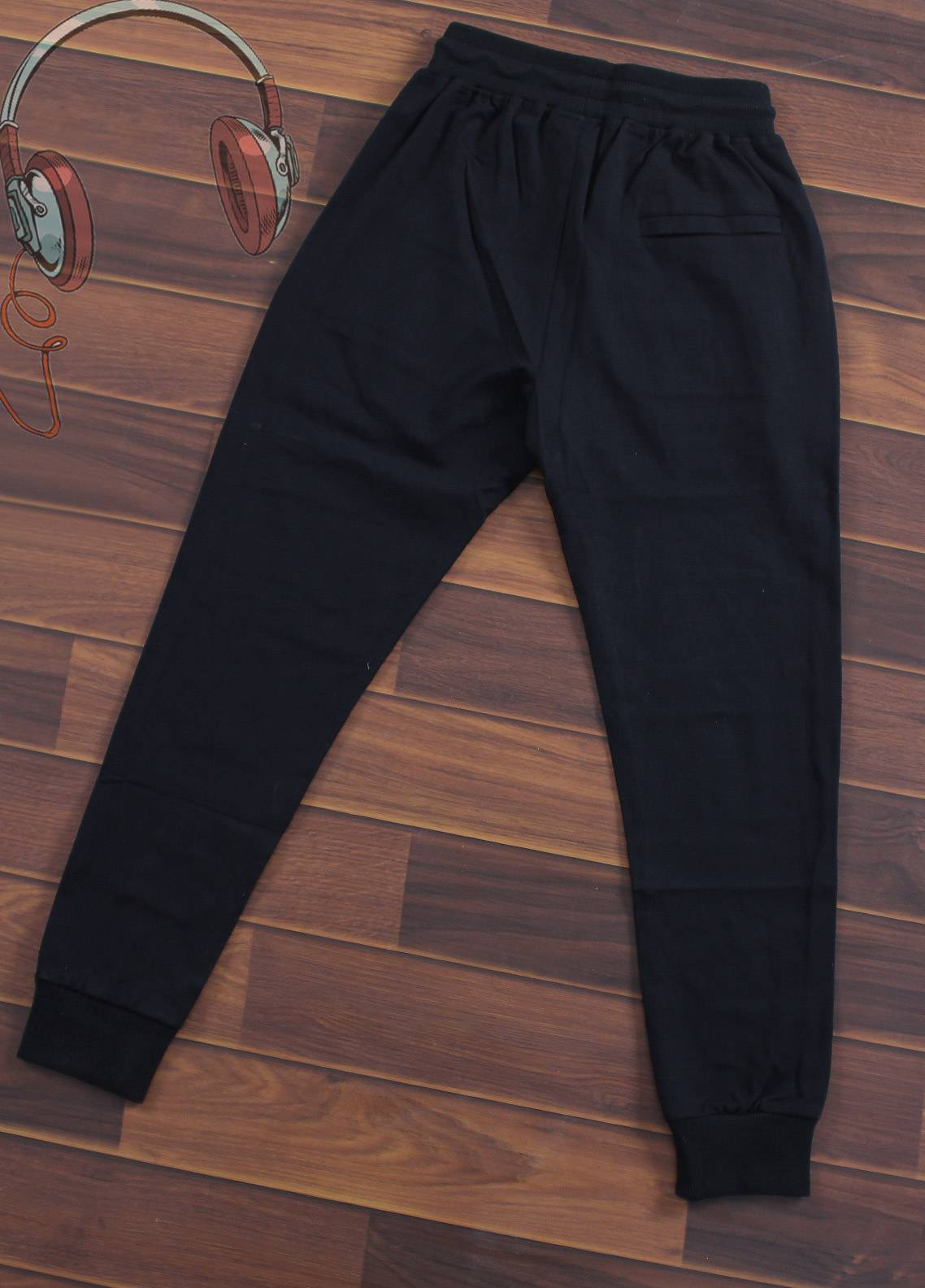 Sanaulla Exclusive Range Jersey Casual Boys Trousers -  7227-Black