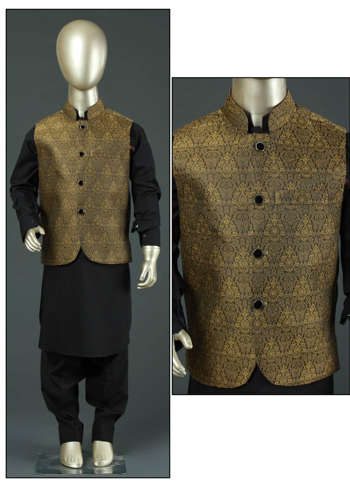 Sanaulla Exclusive Range Jamawar Fancy Waistcoat for Boys - SA19BW C-621 Green