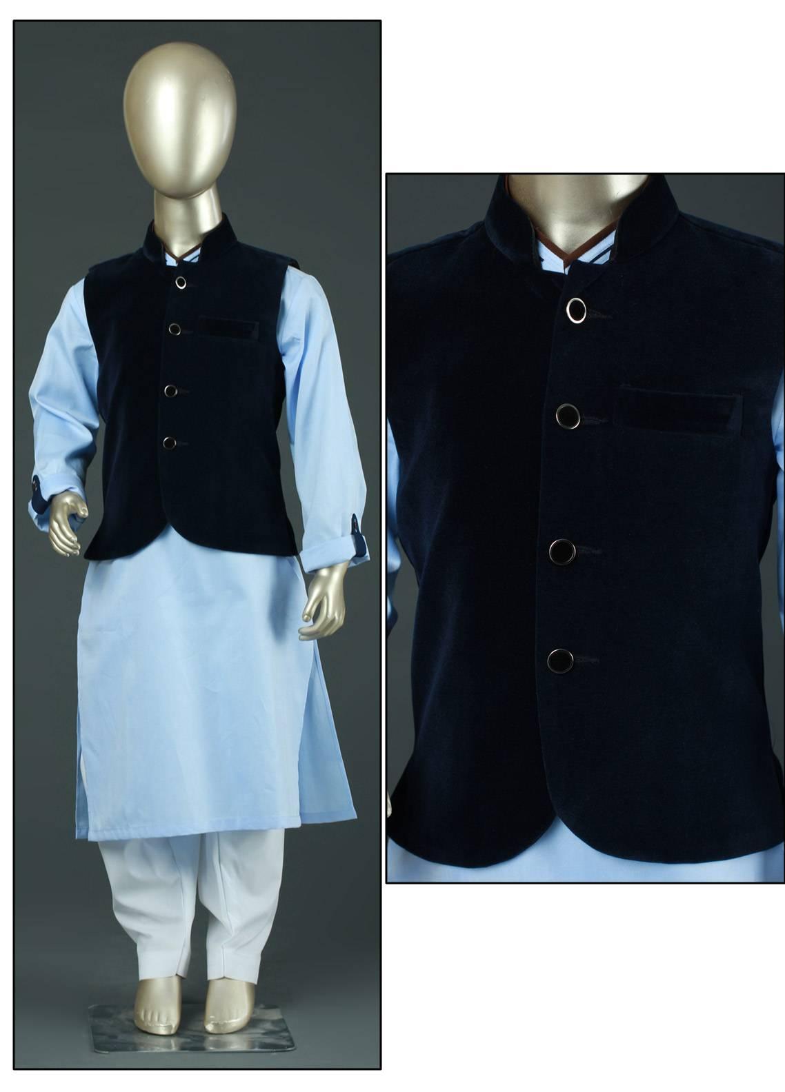 Sanaulla Exclusive Range Velvet Plain Textured Waistcoat for Boys - SA19BW C-622 Blue