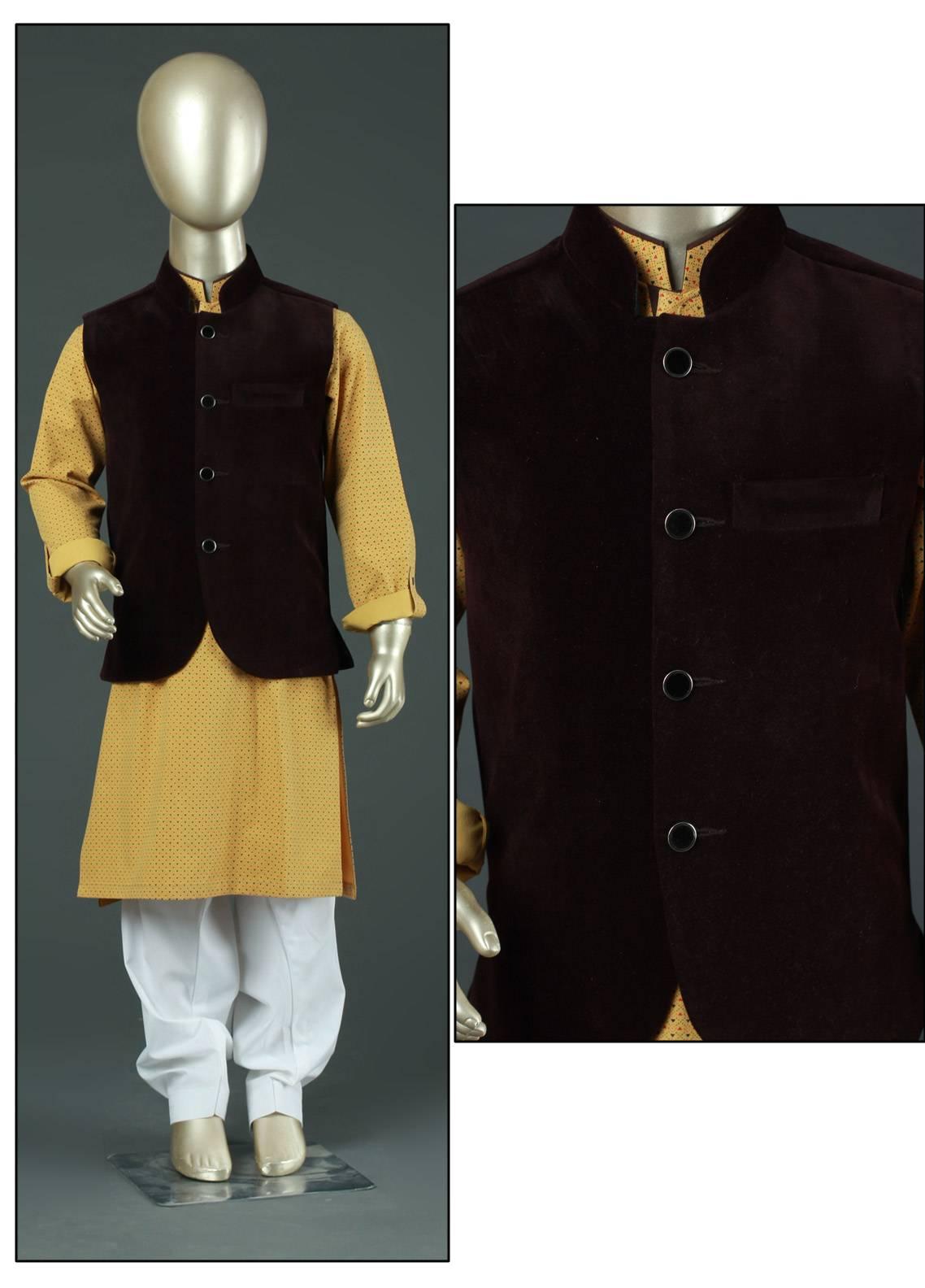 Sanaulla Exclusive Range Velvet Plain Textured Boys Waistcoat - SA19BW C-622 Maroon