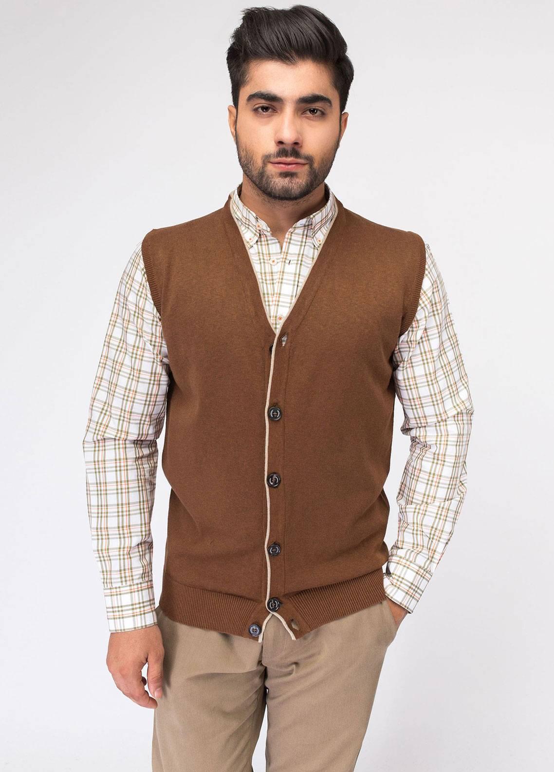Brumano Cotton Button Cardigans for Men - Brown BRM-23-867