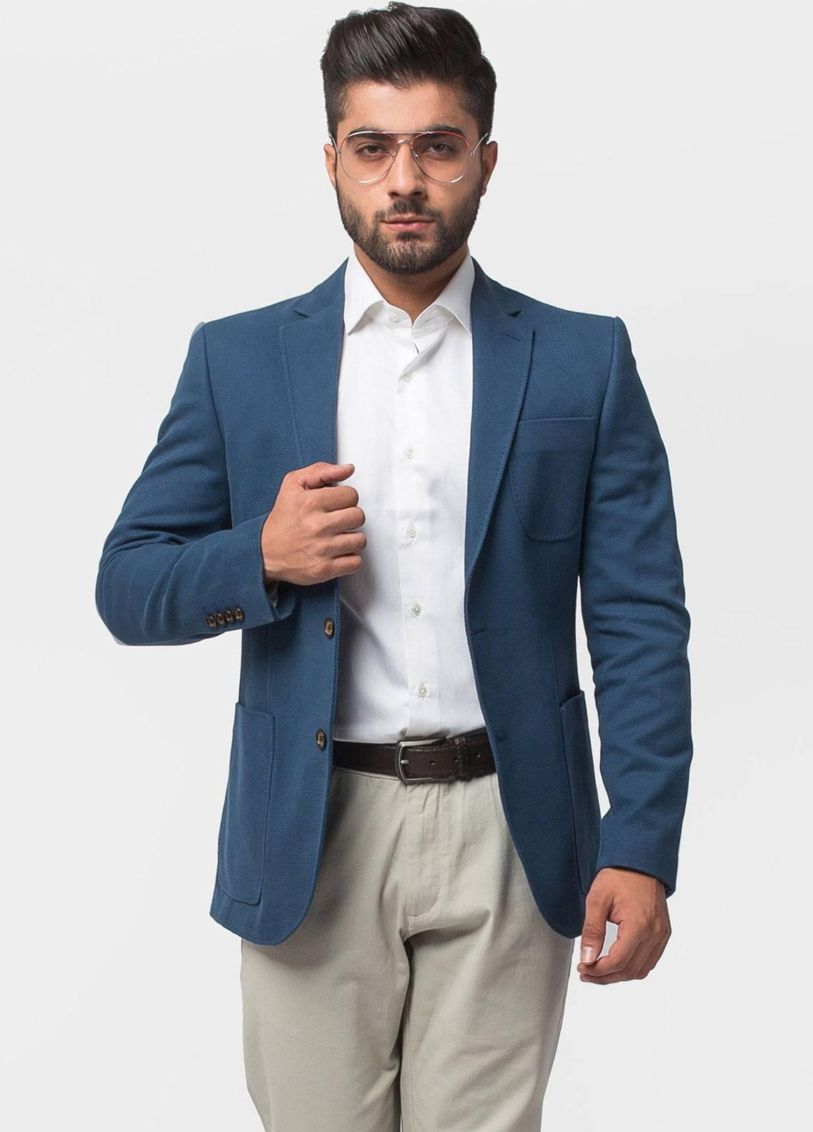 Brumano Cotton Casual Men Blazer - Ink Blue BLZ-506