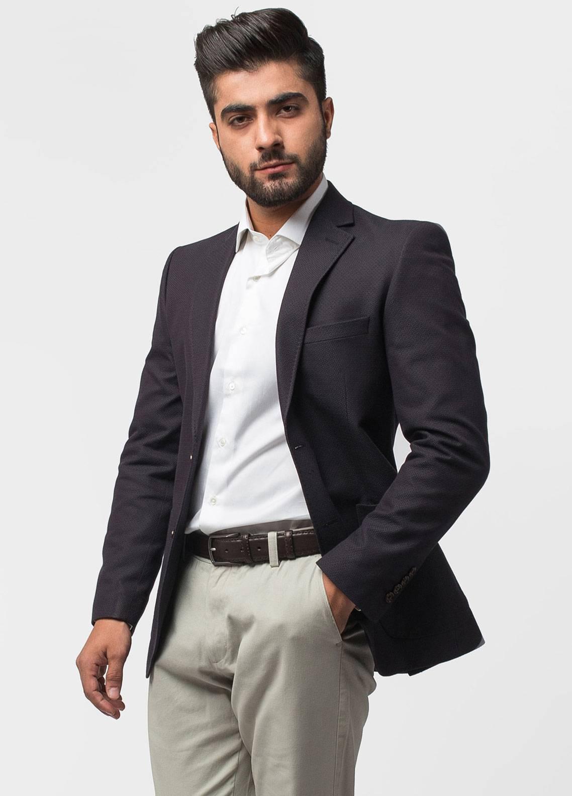 Brumano Cotton Casual Blazer for Men - Black Patterned Bordo