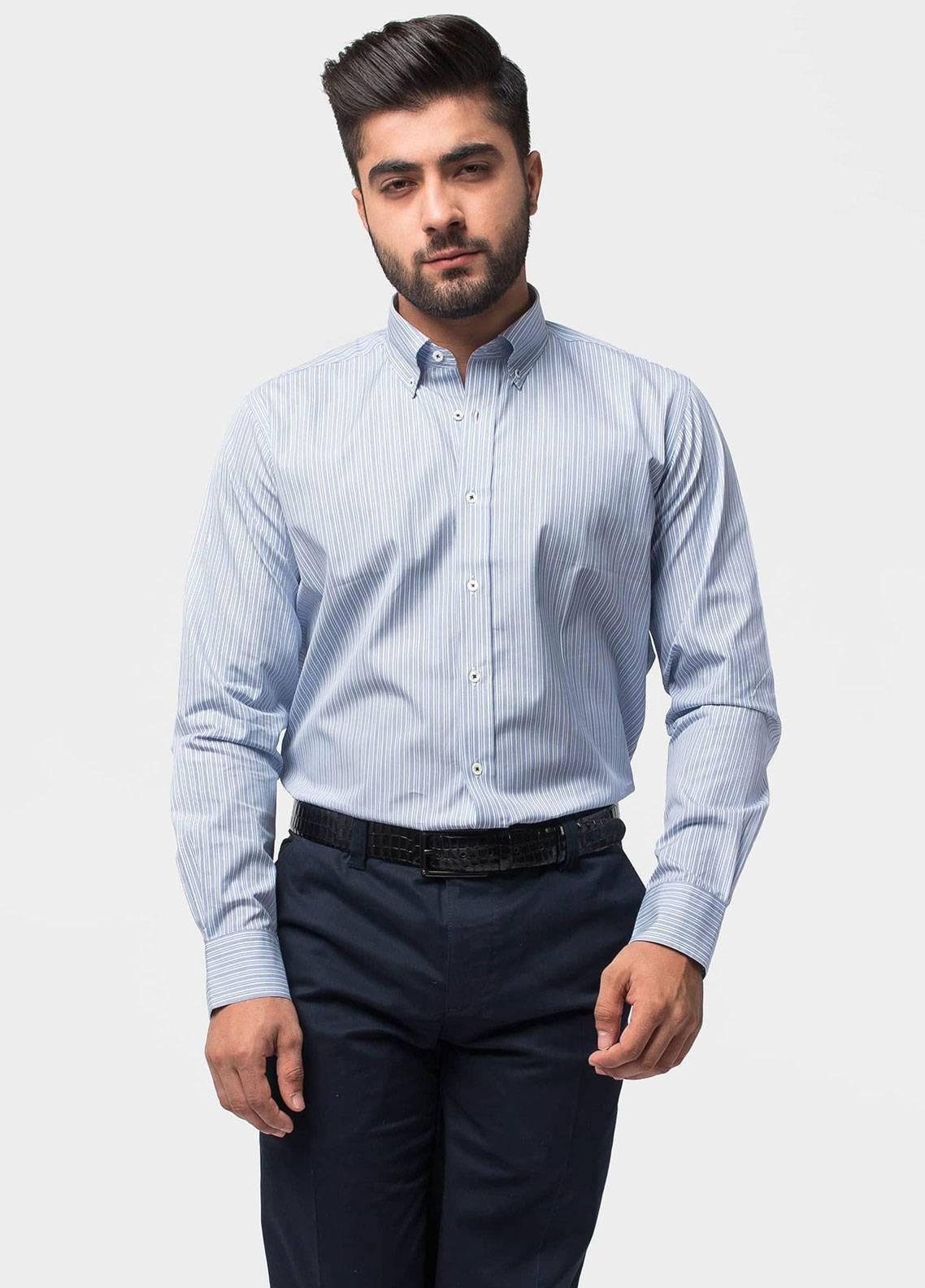 Brumano Cotton Formal Shirts for Men   Blue BRM 497