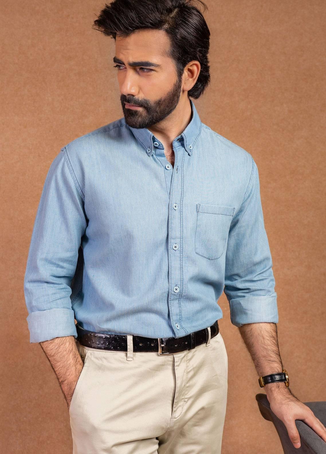 Brumano Cotton Formal Shirts for Men - Blue BRM-551
