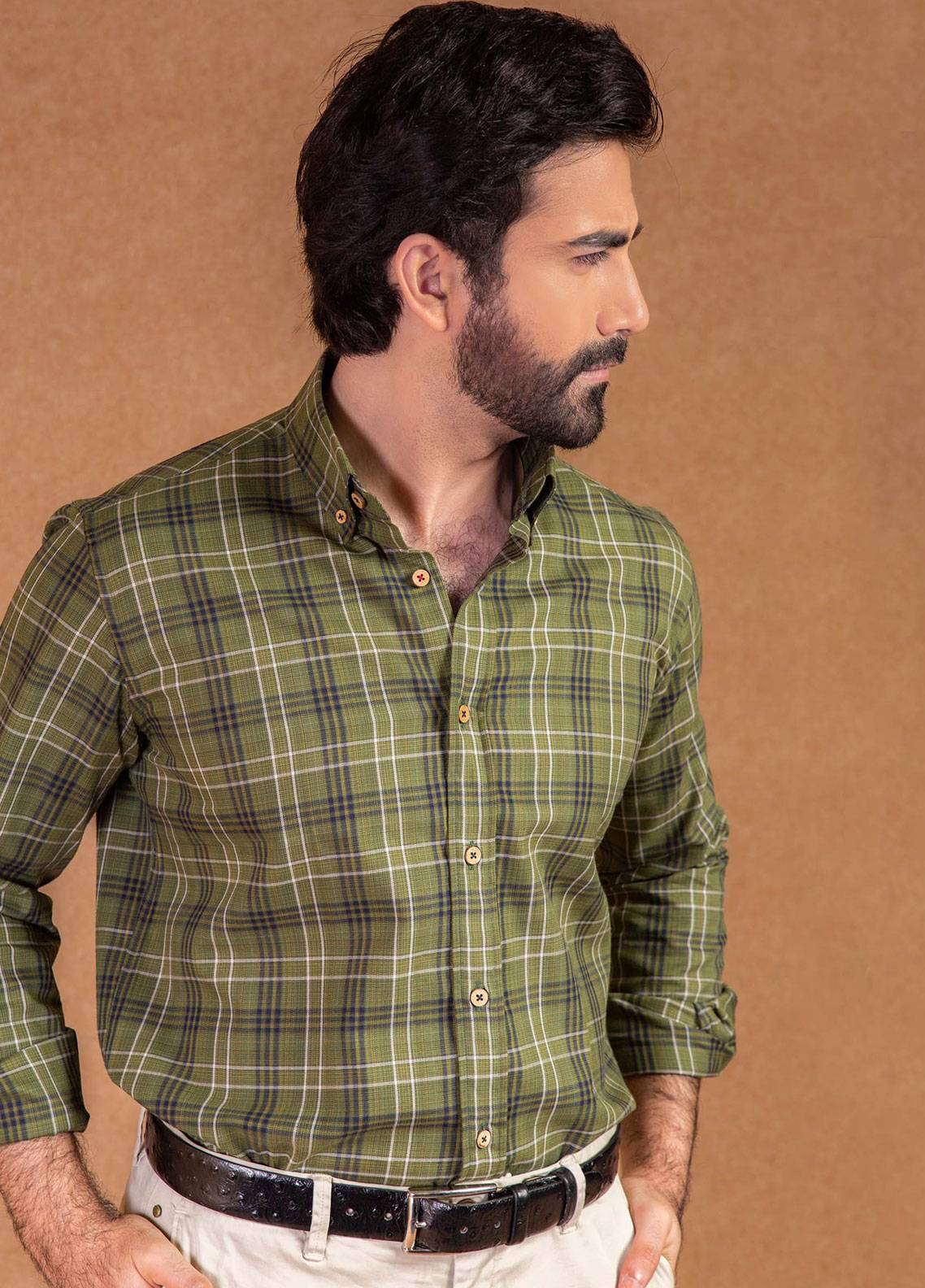 Brumano Cotton Formal Shirts for Men - Green BRM-571