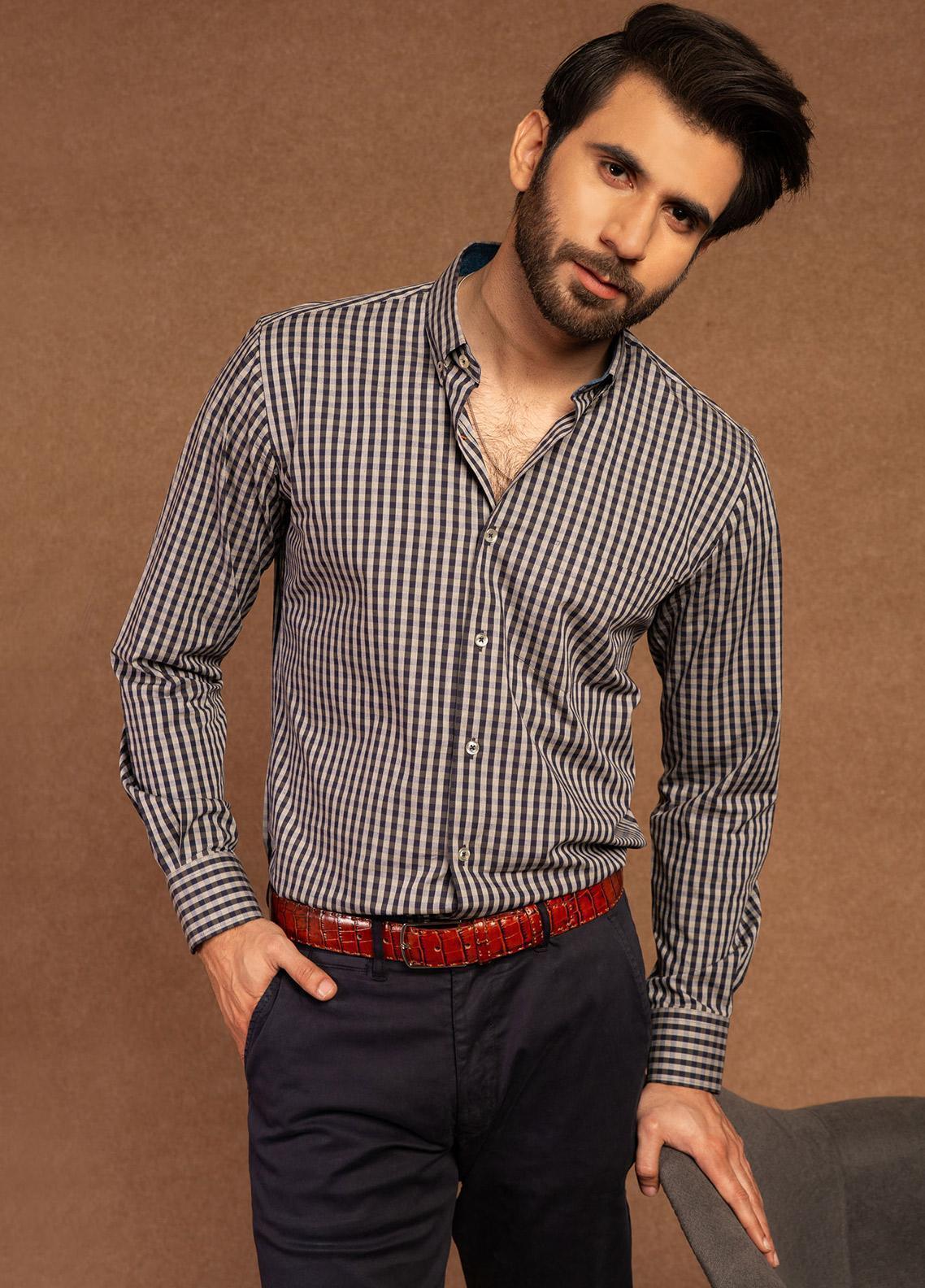 Brumano Cotton Formal Men Shirts - Blue BRM-574