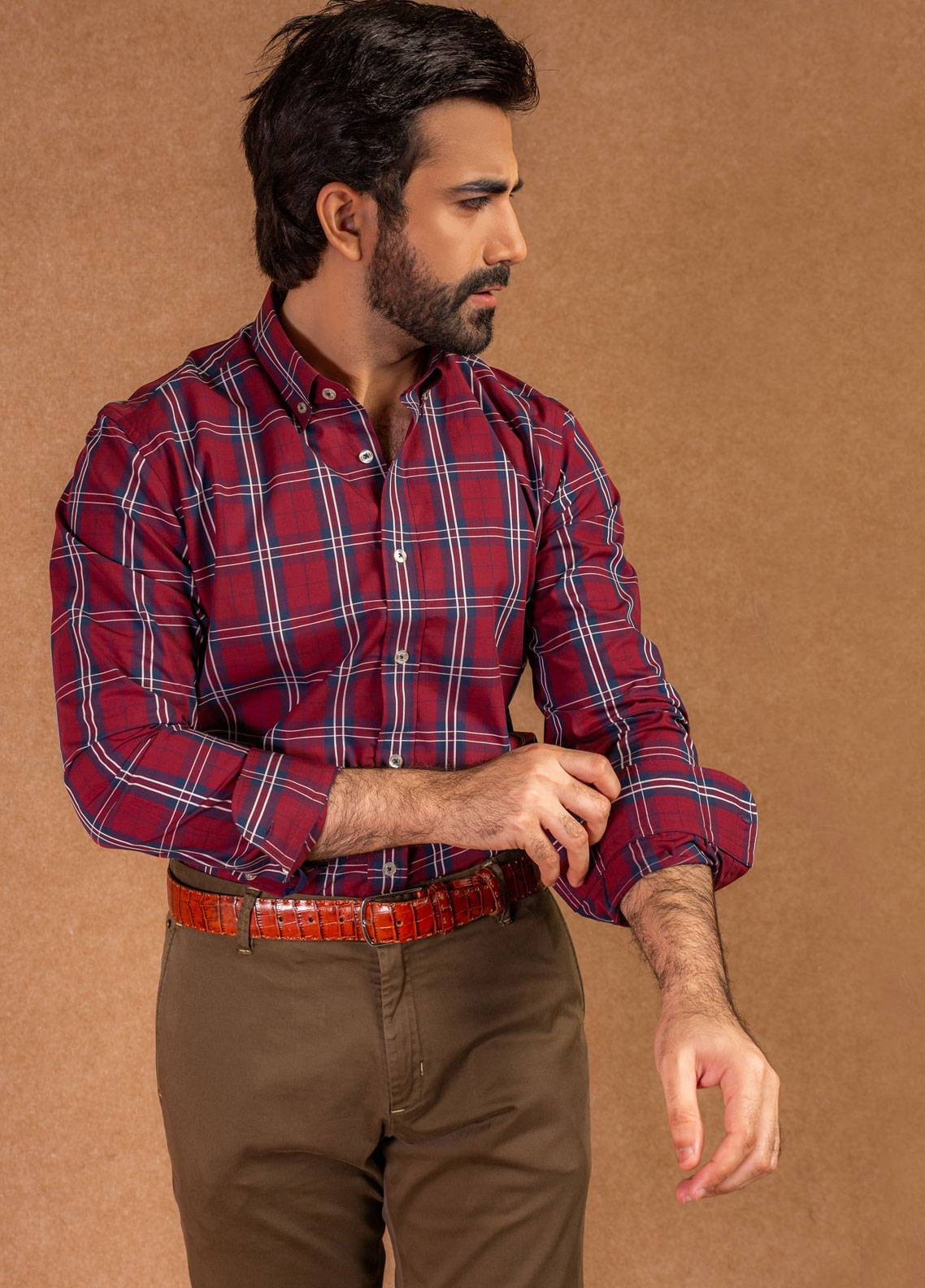 Brumano Cotton Formal Shirts for Men - Maroon BRM-579