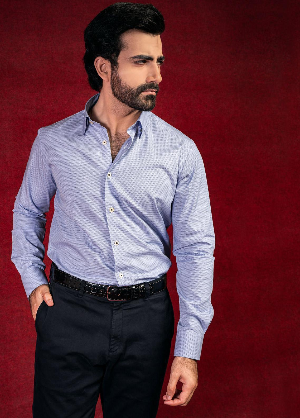 Brumano Cotton Formal Shirts for Men - Blue BRM-597